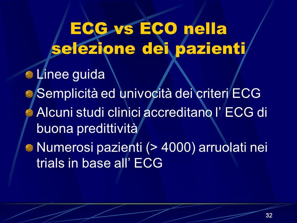 32 ECG vs ECO nella selezione dei pazienti Linee guida Semplicità ed univocità dei criteri ECG Alcuni studi clinici accreditano l ECG di buona preditt