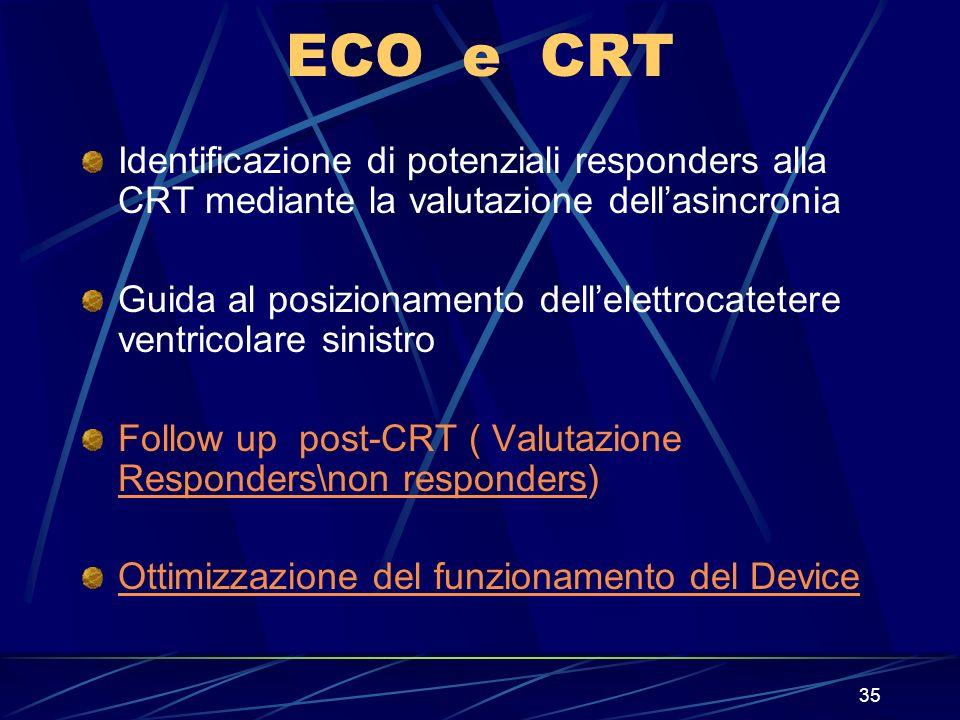 35 ECO e CRT Identificazione di potenziali responders alla CRT mediante la valutazione dellasincronia Guida al posizionamento dellelettrocatetere vent