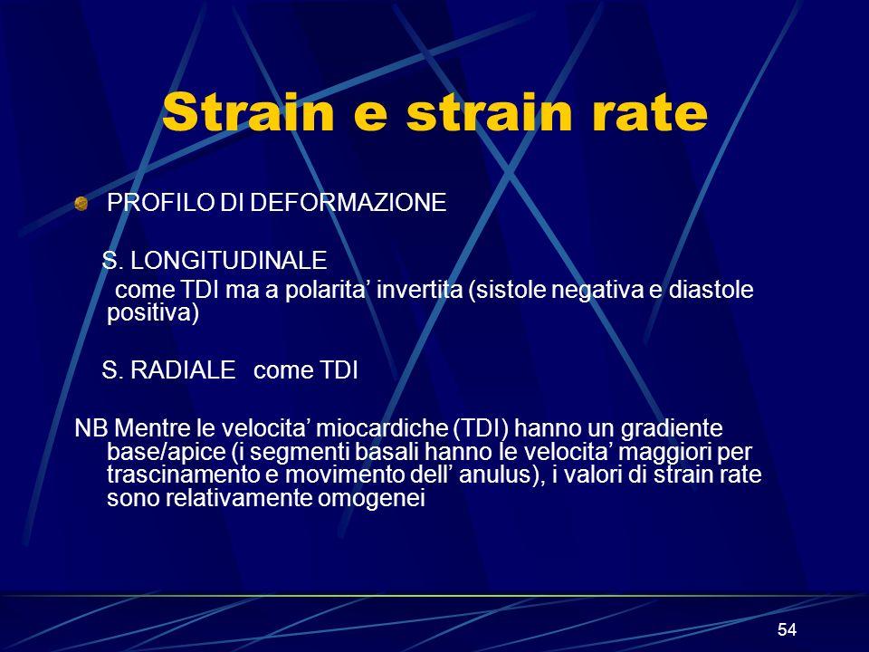 54 Strain e strain rate PROFILO DI DEFORMAZIONE S. LONGITUDINALE come TDI ma a polarita invertita (sistole negativa e diastole positiva) S. RADIALE co