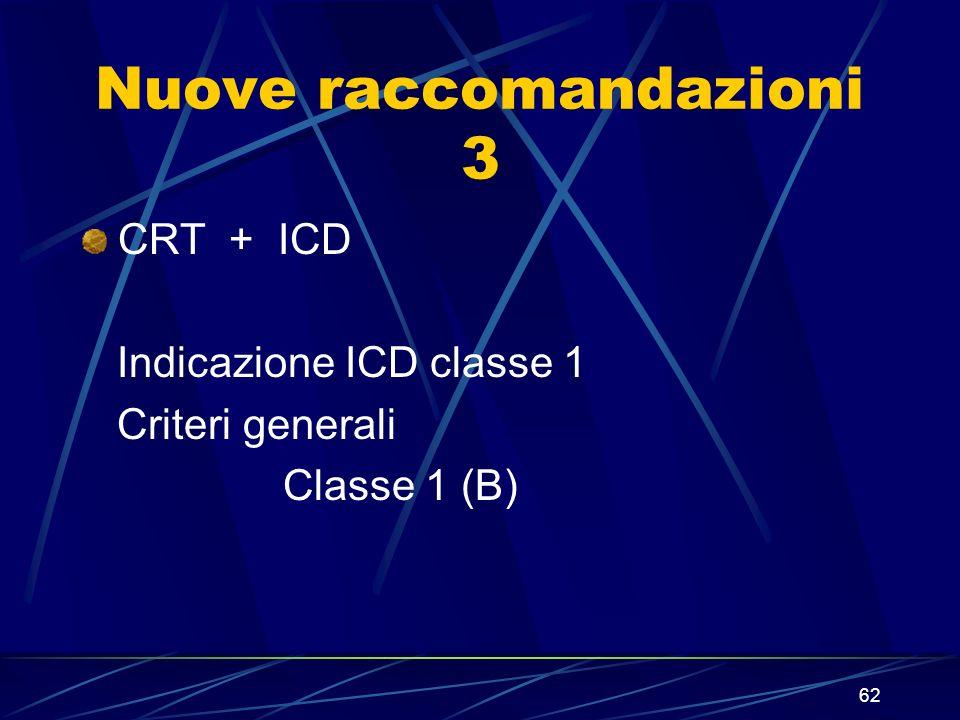 62 Nuove raccomandazioni 3 CRT + ICD Indicazione ICD classe 1 Criteri generali Classe 1 (B)