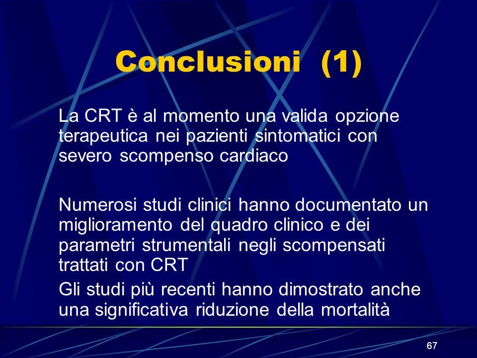 67 Conclusioni (1) La CRT è al momento una valida opzione terapeutica nei pazienti sintomatici con severo scompenso cardiaco Numerosi studi clinici ha