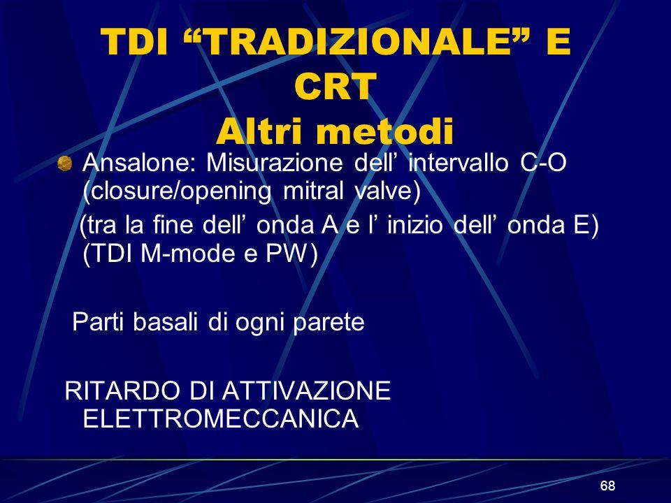 68 TDI TRADIZIONALE E CRT Altri metodi Ansalone: Misurazione dell intervallo C-O (closure/opening mitral valve) (tra la fine dell onda A e l inizio de