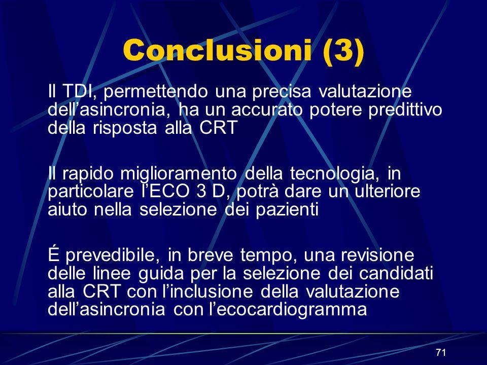 71 Conclusioni (3) Il TDI, permettendo una precisa valutazione dellasincronia, ha un accurato potere predittivo della risposta alla CRT Il rapido migl