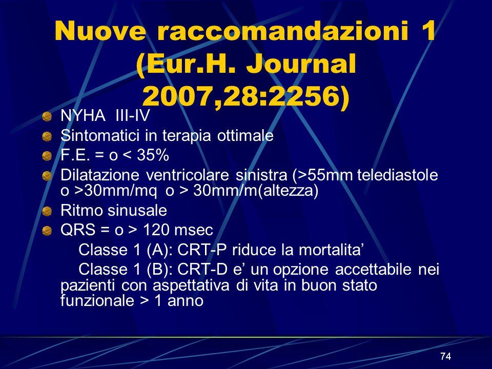 74 Nuove raccomandazioni 1 (Eur.H. Journal 2007,28:2256) NYHA III-IV Sintomatici in terapia ottimale F.E. = o < 35% Dilatazione ventricolare sinistra