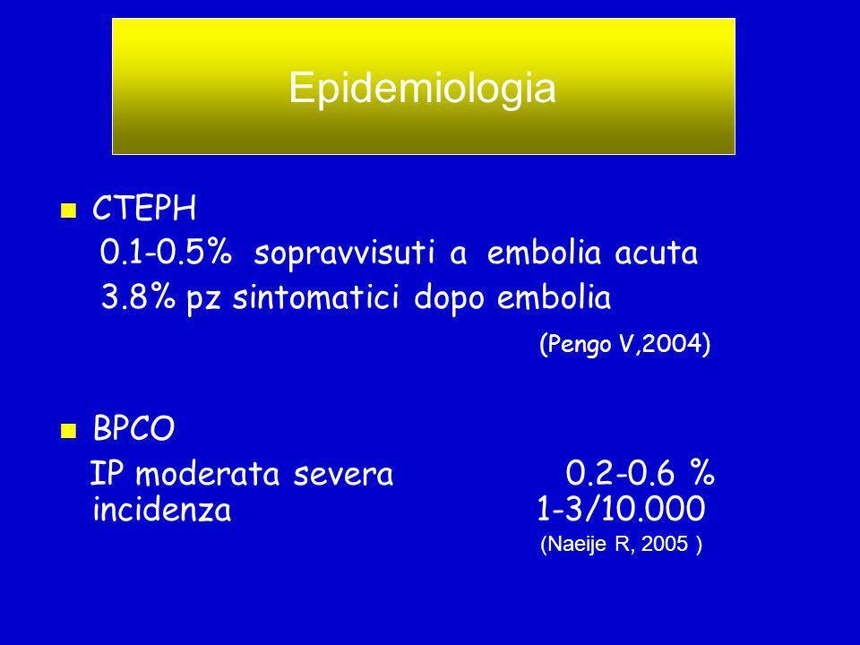 CTEPH 0.1-0.5% sopravvisuti a embolia acuta 3.8% pz sintomatici dopo embolia (Pengo V,2004) BPCO IP moderata severa 0.2-0.6 % incidenza 1-3/10.000 EPIDEMIOLOGIA Epidemiologia (Naeije R, 2005 )