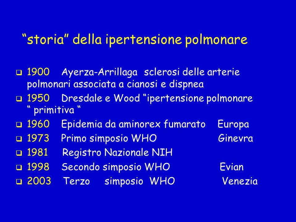 Ipertensione polmonare definizione Pressione media in arteria polmonare: - PAPm > 25 mmHg a riposo - PAPm > 30 mmHg durante sforzo Ipertensione - lieve PAPm 26-35 mmHg - moderata PAPm 36-45 mmHg - severa PAPm > 45 mmHg