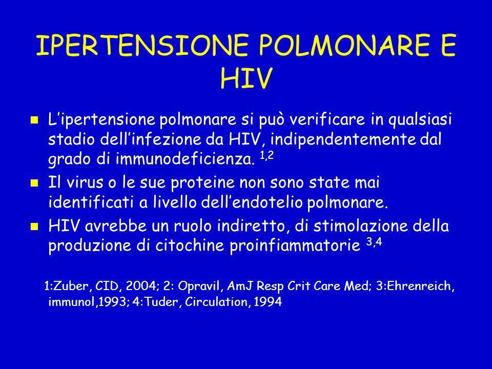 IPERTENSIONE POLMONARE E HIV Lipertensione polmonare si può verificare in qualsiasi stadio dellinfezione da HIV, indipendentemente dal grado di immuno