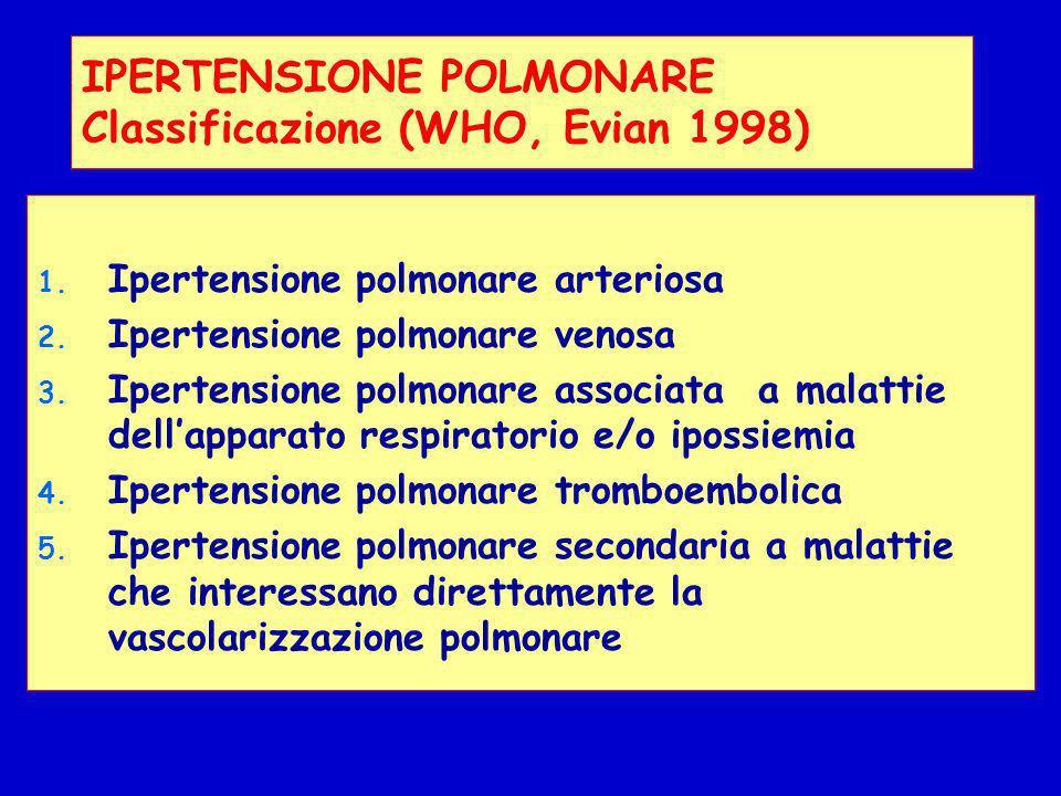 IPERTENSIONE POLMONARE Classificazione (WHO, Evian 1998) 1. Ipertensione polmonare arteriosa 2. Ipertensione polmonare venosa 3. Ipertensione polmonar