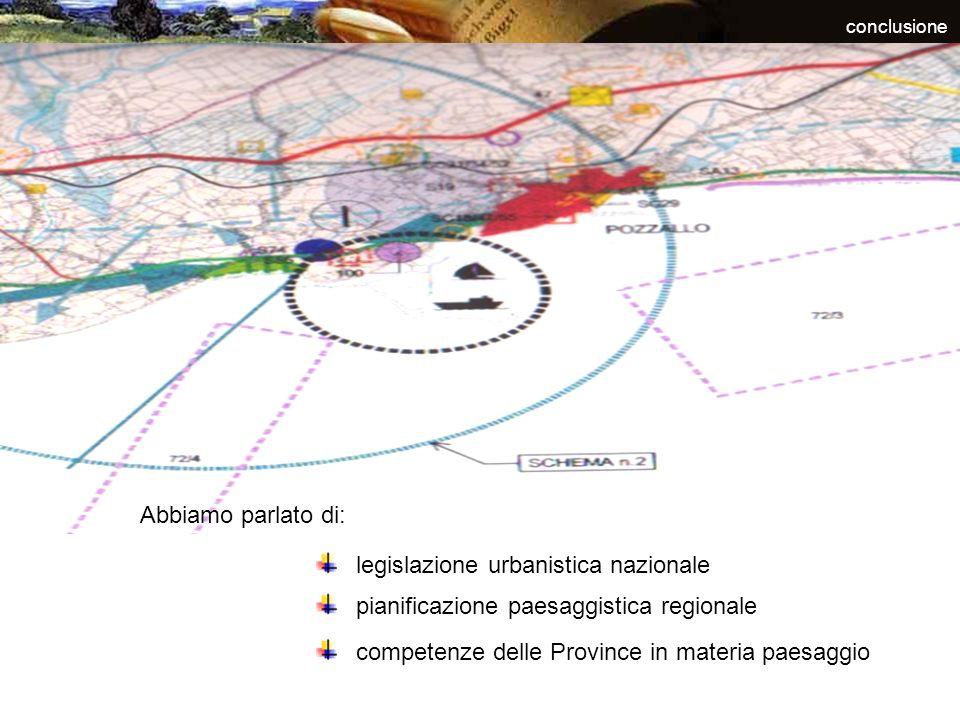 conclusione legislazione urbanistica nazionale pianificazione paesaggistica regionale competenze delle Province in materia paesaggio Abbiamo parlato d
