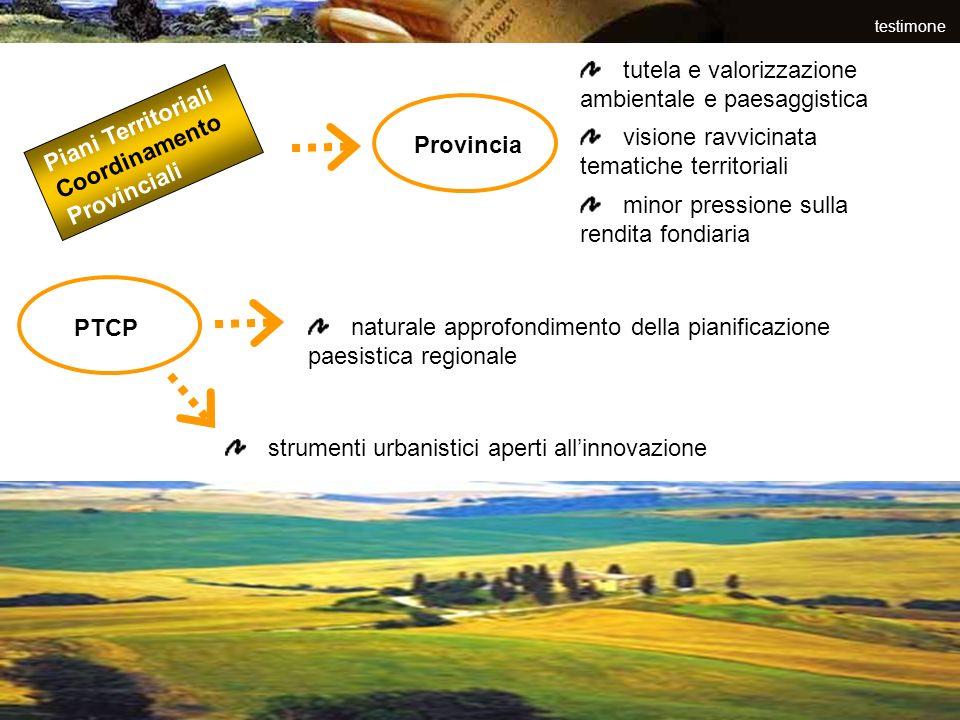 testimone Piani Territoriali Coordinamento Provinciali Provincia tutela e valorizzazione ambientale e paesaggistica visione ravvicinata tematiche terr