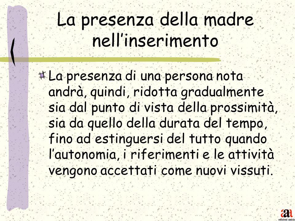 La presenza della madre nellinserimento La presenza di una persona nota andrà, quindi, ridotta gradualmente sia dal punto di vista della prossimità, s