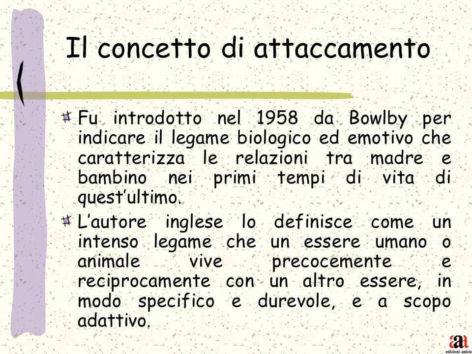 Il concetto di attaccamento Fu introdotto nel 1958 da Bowlby per indicare il legame biologico ed emotivo che caratterizza le relazioni tra madre e bam