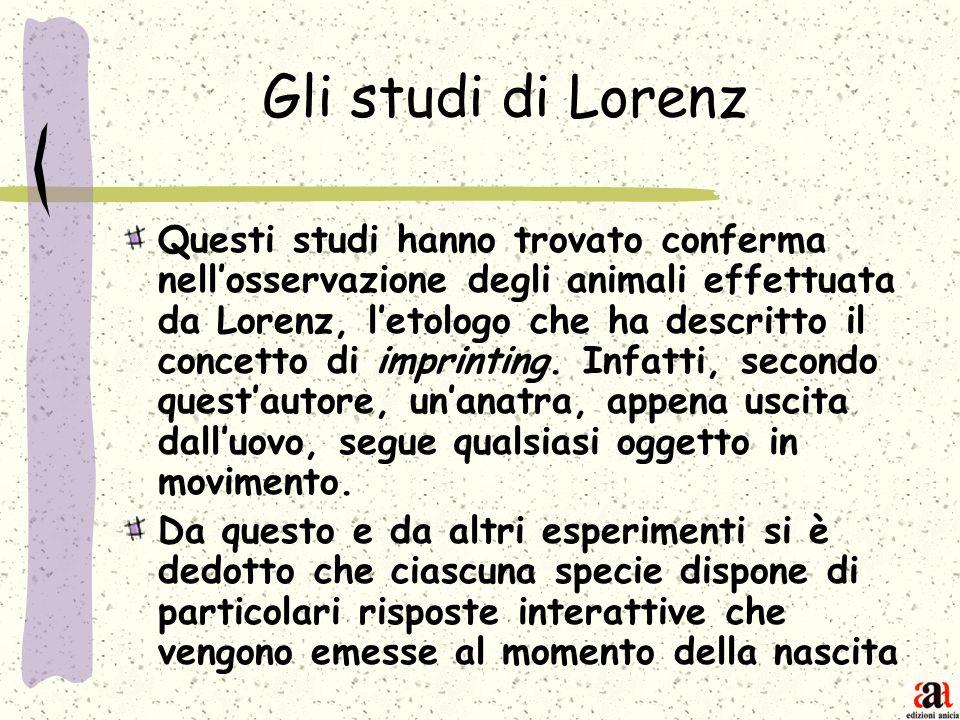 Gli studi di Lorenz Questi studi hanno trovato conferma nellosservazione degli animali effettuata da Lorenz, letologo che ha descritto il concetto di