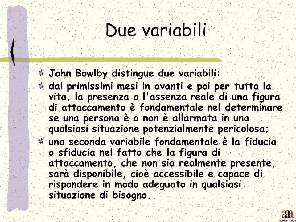 Due variabili John Bowlby distingue due variabili: dai primissimi mesi in avanti e poi per tutta la vita, la presenza o l'assenza reale di una figura