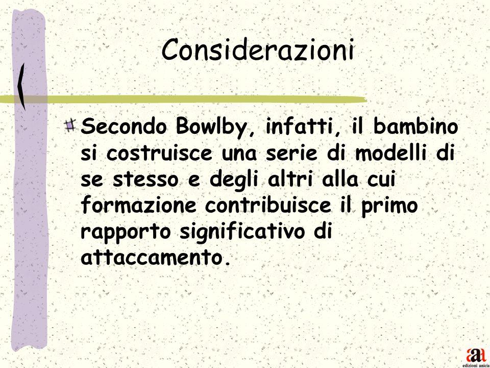 Considerazioni Secondo Bowlby, infatti, il bambino si costruisce una serie di modelli di se stesso e degli altri alla cui formazione contribuisce il p