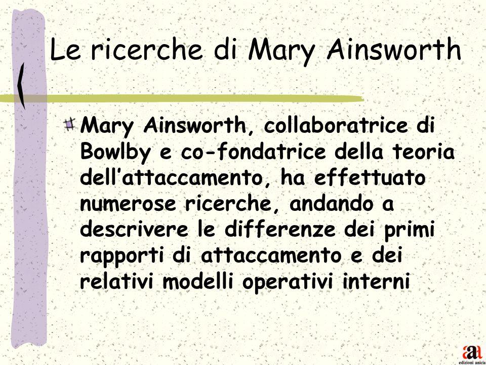 Le ricerche di Mary Ainsworth Mary Ainsworth, collaboratrice di Bowlby e co-fondatrice della teoria dellattaccamento, ha effettuato numerose ricerche,