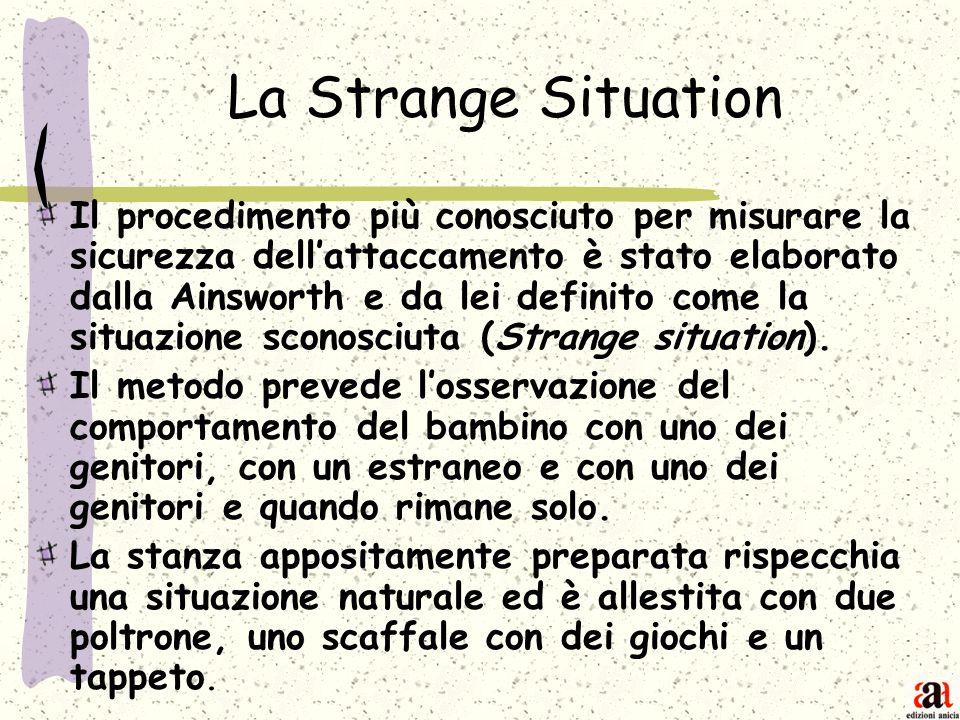 La Strange Situation Il procedimento più conosciuto per misurare la sicurezza dellattaccamento è stato elaborato dalla Ainsworth e da lei definito com