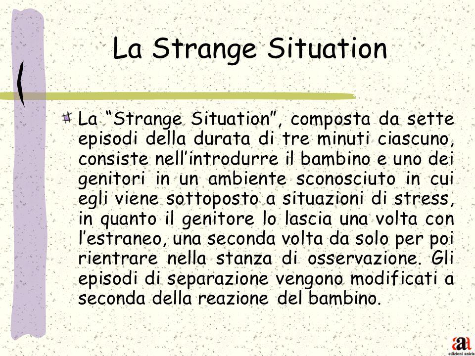 La Strange Situation La Strange Situation, composta da sette episodi della durata di tre minuti ciascuno, consiste nellintrodurre il bambino e uno dei