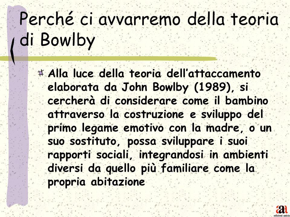 Perché ci avvarremo della teoria di Bowlby Alla luce della teoria dellattaccamento elaborata da John Bowlby (1989), si cercherà di considerare come il
