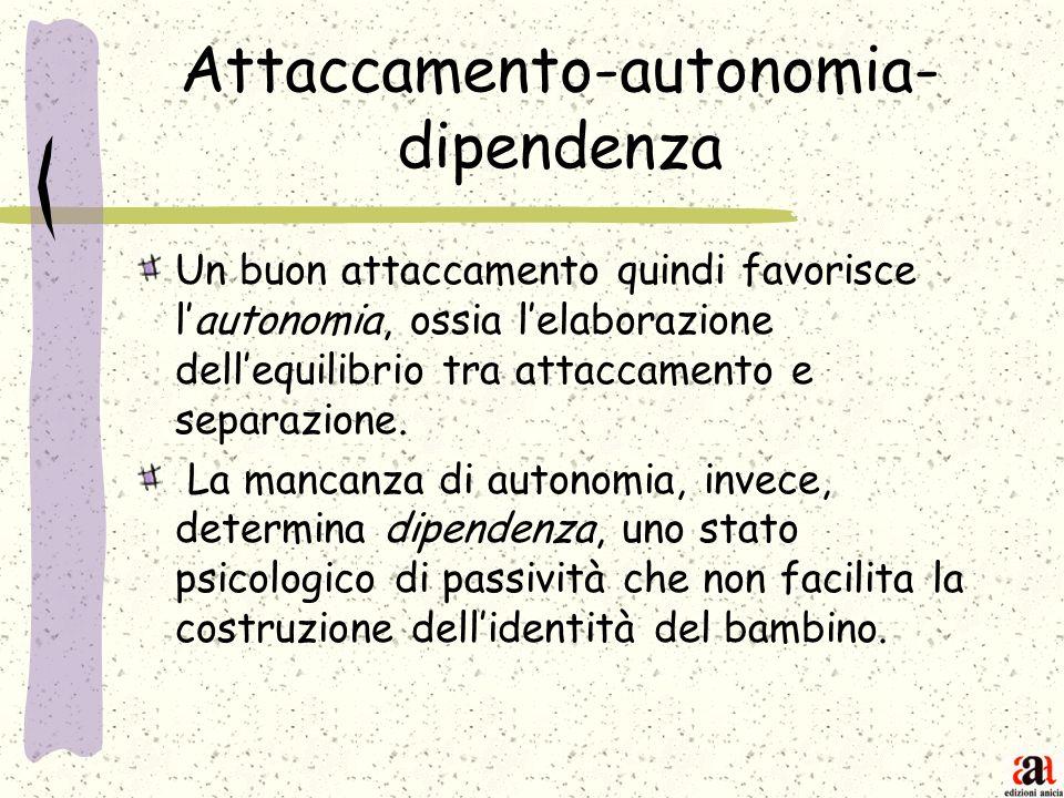 Attaccamento-autonomia- dipendenza Un buon attaccamento quindi favorisce lautonomia, ossia lelaborazione dellequilibrio tra attaccamento e separazione