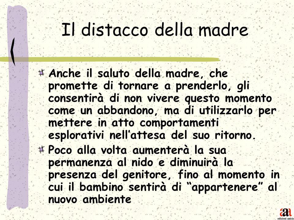 Il distacco della madre Anche il saluto della madre, che promette di tornare a prenderlo, gli consentirà di non vivere questo momento come un abbandon