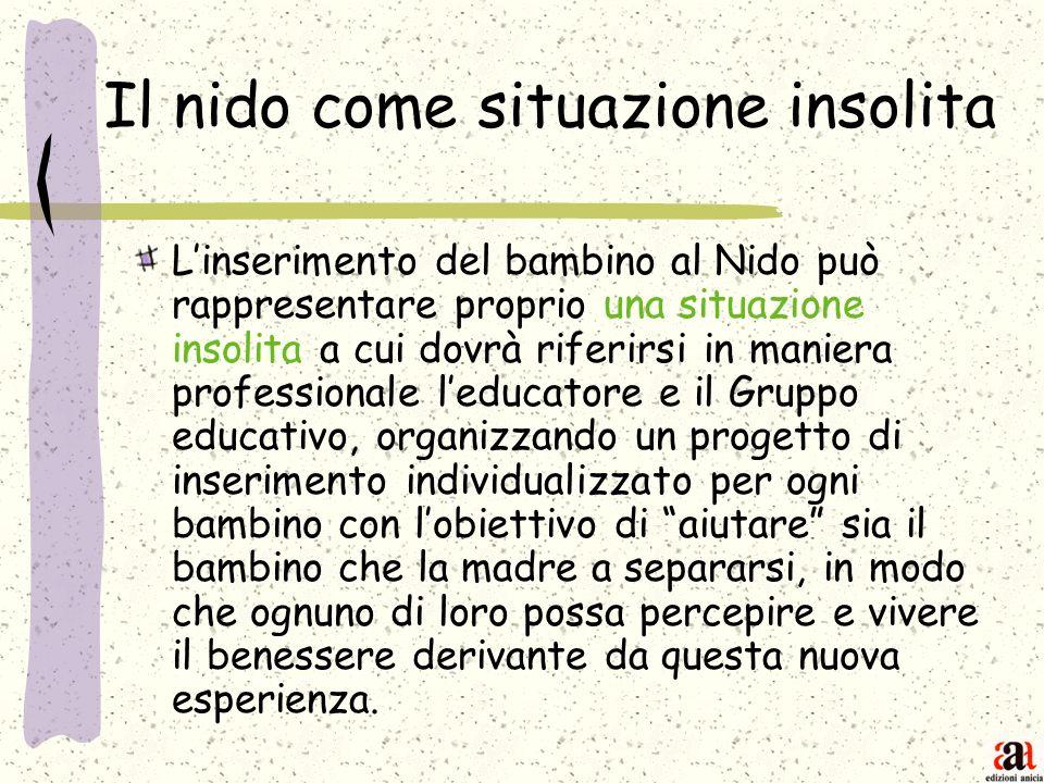 Il nido come situazione insolita Linserimento del bambino al Nido può rappresentare proprio una situazione insolita a cui dovrà riferirsi in maniera p