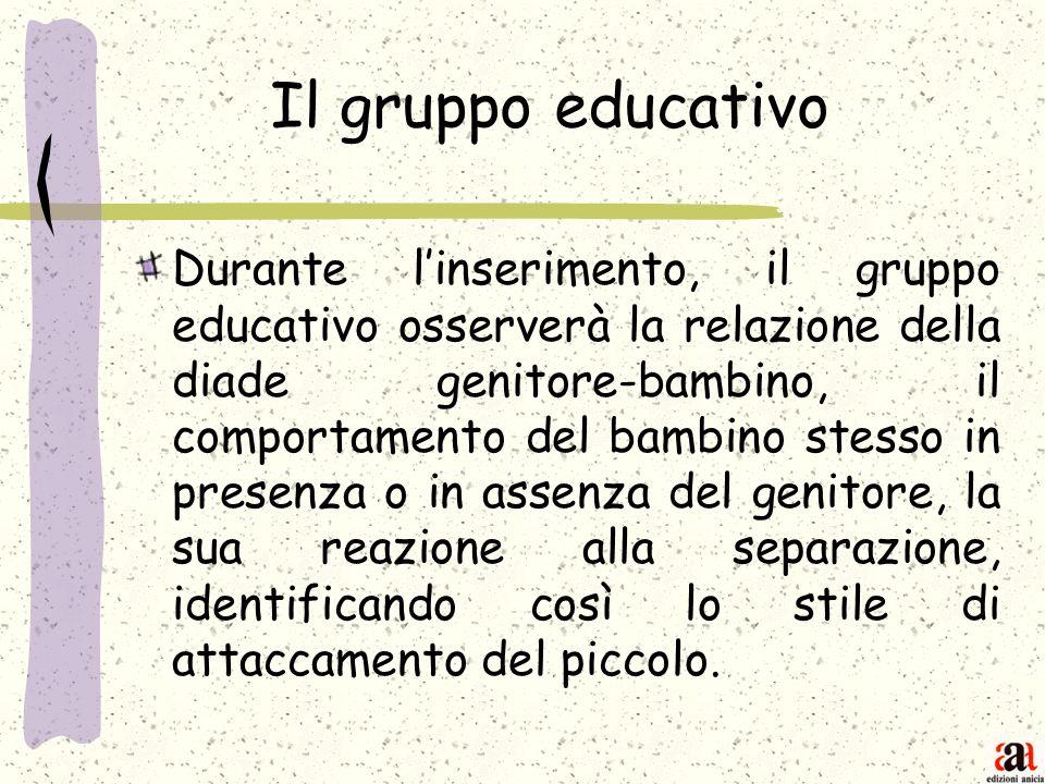 Il gruppo educativo Durante linserimento, il gruppo educativo osserverà la relazione della diade genitore-bambino, il comportamento del bambino stesso