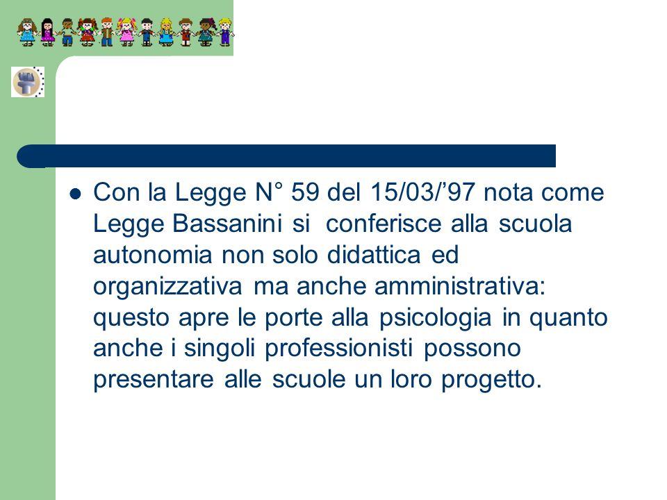 Con la Legge N° 59 del 15/03/97 nota come Legge Bassanini si conferisce alla scuola autonomia non solo didattica ed organizzativa ma anche amministrat