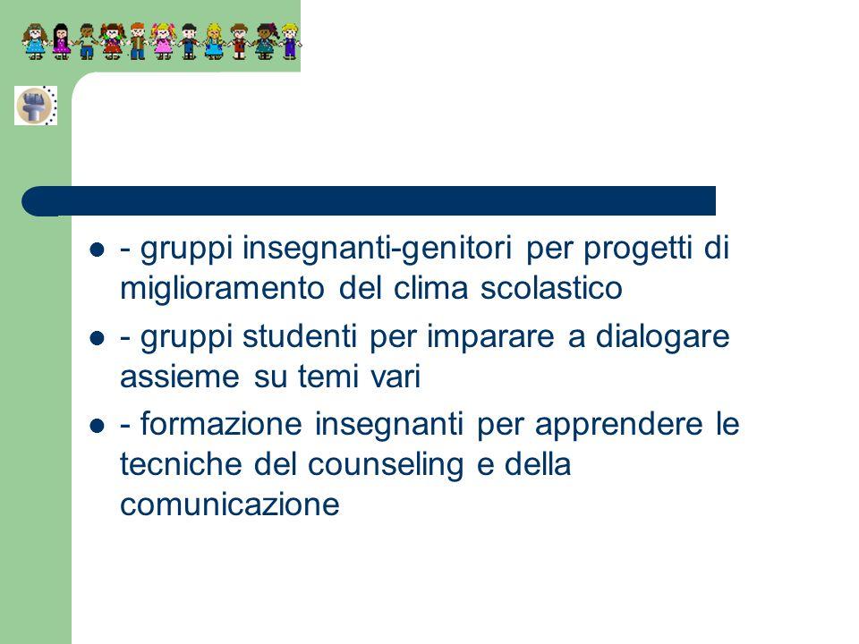 - gruppi insegnanti-genitori per progetti di miglioramento del clima scolastico - gruppi studenti per imparare a dialogare assieme su temi vari - form