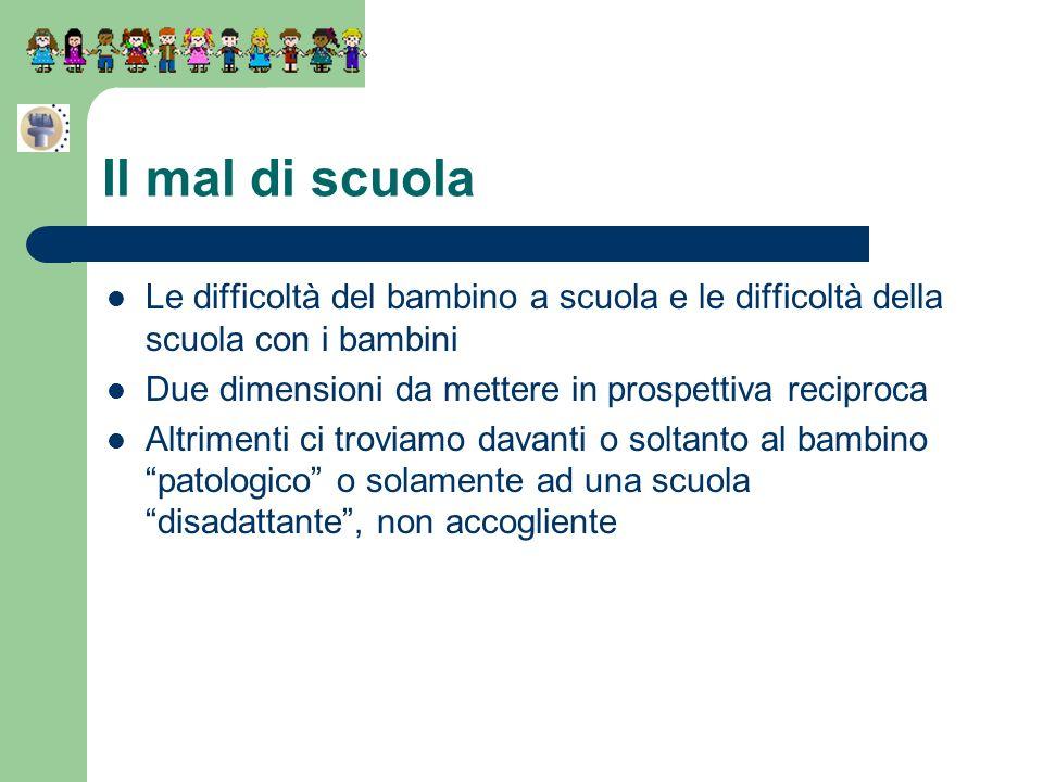 Il mal di scuola Le difficoltà del bambino a scuola e le difficoltà della scuola con i bambini Due dimensioni da mettere in prospettiva reciproca Altr