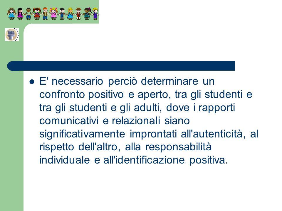 E' necessario perciò determinare un confronto positivo e aperto, tra gli studenti e tra gli studenti e gli adulti, dove i rapporti comunicativi e rela
