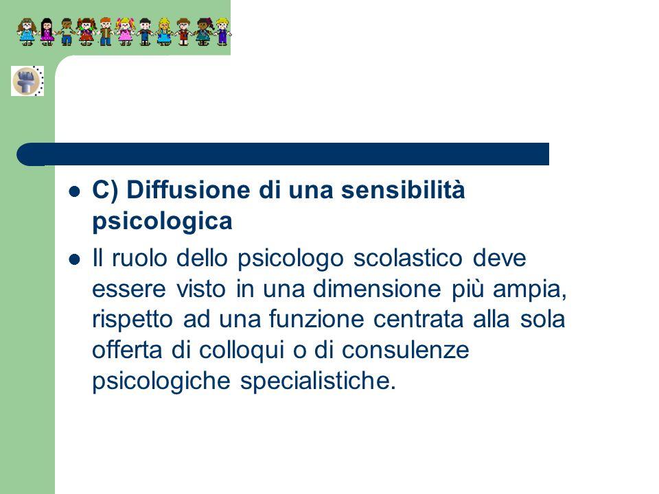 C) Diffusione di una sensibilità psicologica Il ruolo dello psicologo scolastico deve essere visto in una dimensione più ampia, rispetto ad una funzio