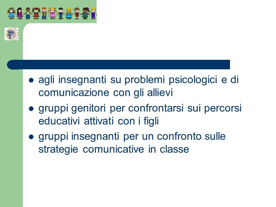 agli insegnanti su problemi psicologici e di comunicazione con gli allievi gruppi genitori per confrontarsi sui percorsi educativi attivati con i figl