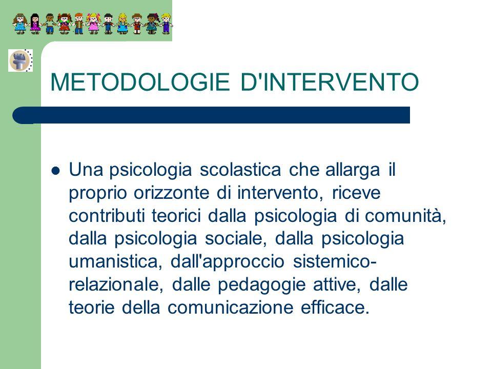 METODOLOGIE D'INTERVENTO Una psicologia scolastica che allarga il proprio orizzonte di intervento, riceve contributi teorici dalla psicologia di comun