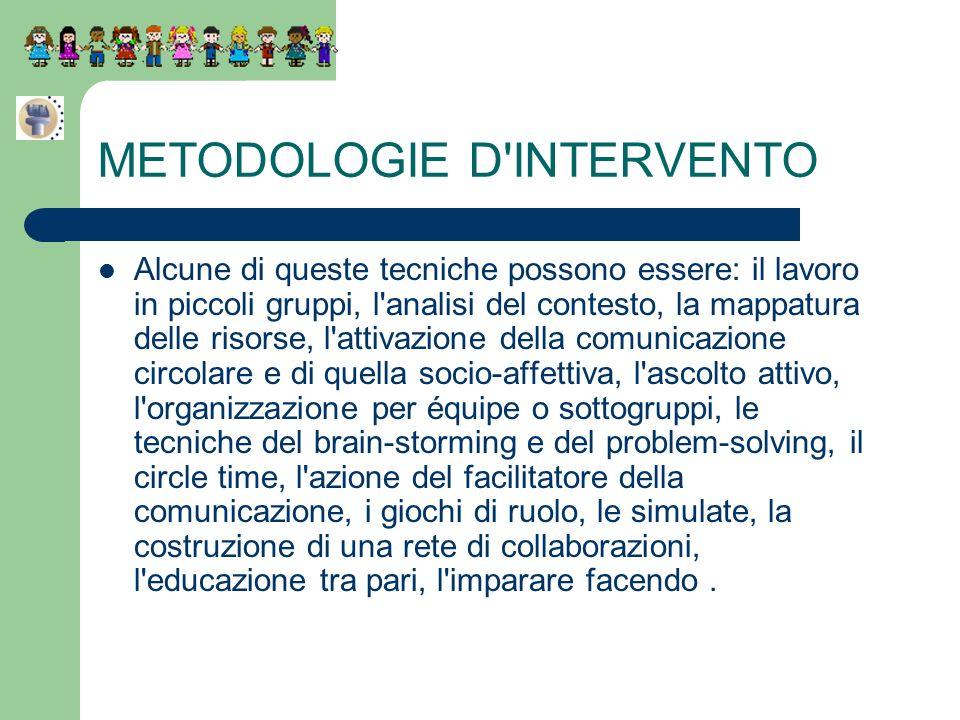 METODOLOGIE D'INTERVENTO Alcune di queste tecniche possono essere: il lavoro in piccoli gruppi, l'analisi del contesto, la mappatura delle risorse, l'