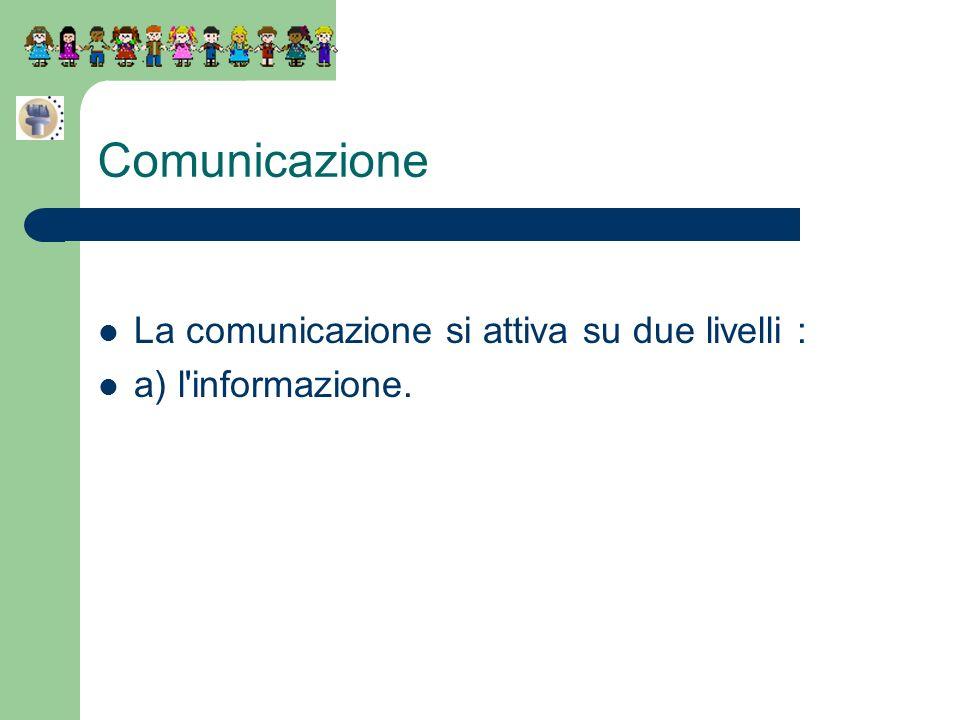 Comunicazione La comunicazione si attiva su due livelli : a) l'informazione.
