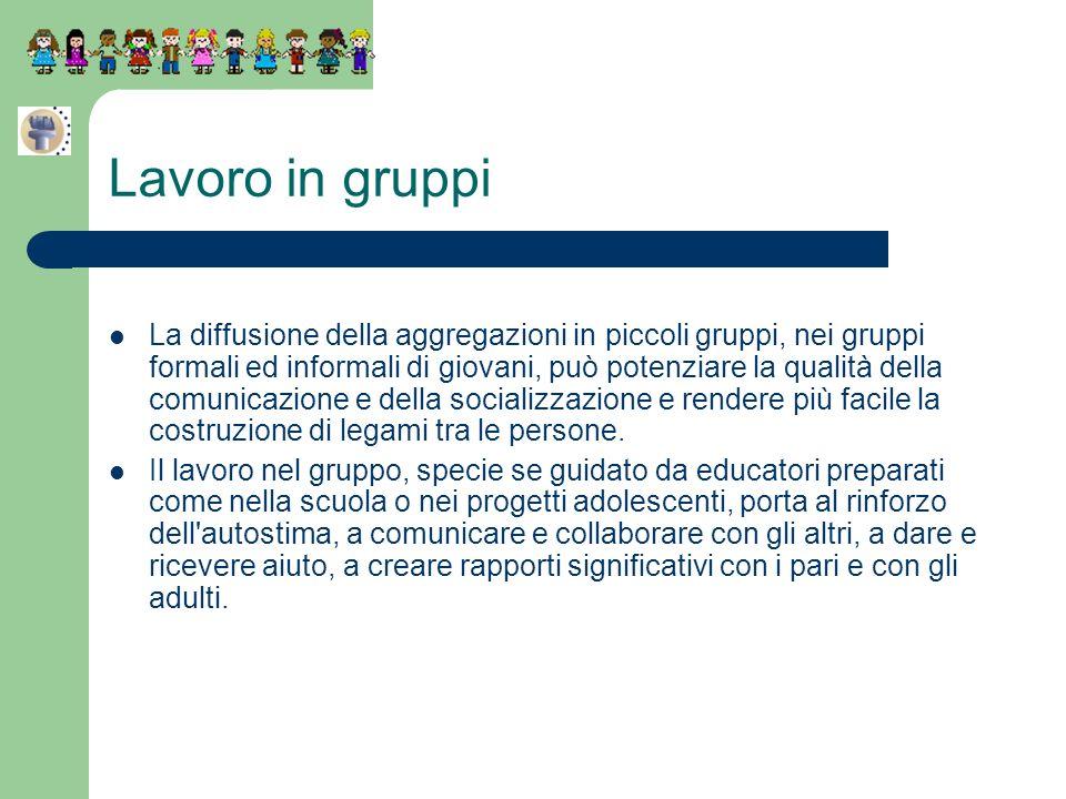 Lavoro in gruppi La diffusione della aggregazioni in piccoli gruppi, nei gruppi formali ed informali di giovani, può potenziare la qualità della comun