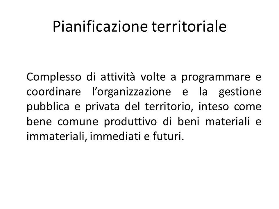 Pianificazione territoriale Complesso di attività volte a programmare e coordinare lorganizzazione e la gestione pubblica e privata del territorio, in