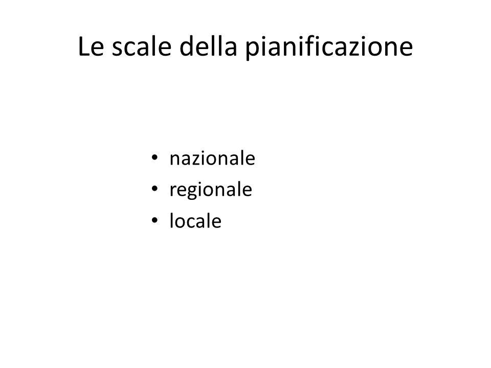 Le scale della pianificazione nazionale regionale locale