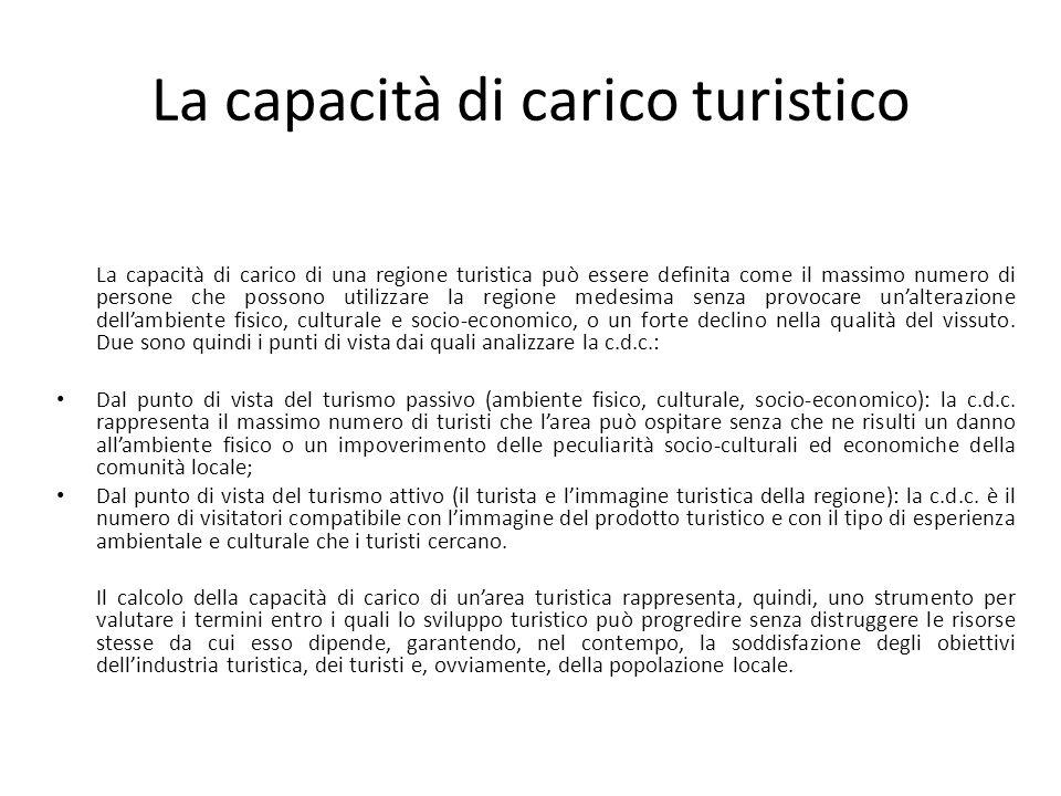 La capacità di carico turistico La capacità di carico di una regione turistica può essere definita come il massimo numero di persone che possono utili