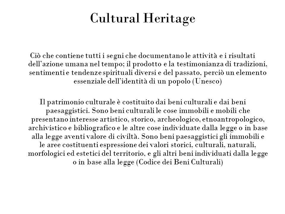 Cultural Heritage Ciò che contiene tutti i segni che documentano le attività e i risultati dellazione umana nel tempo; il prodotto e la testimonianza di tradizioni, sentimenti e tendenze spirituali diversi e del passato, perciò un elemento essenziale dellidentità di un popolo (Unesco) Il patrimonio culturale è costituito dai beni culturali e dai beni paesaggistici.