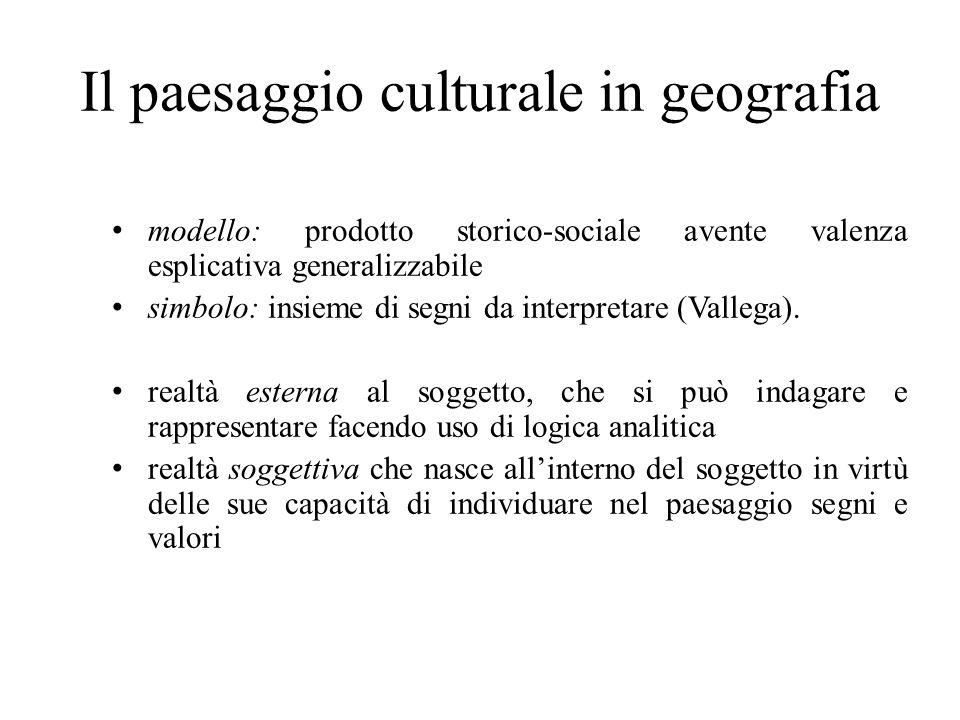 Il paesaggio culturale in geografia modello: prodotto storico-sociale avente valenza esplicativa generalizzabile simbolo: insieme di segni da interpretare (Vallega).