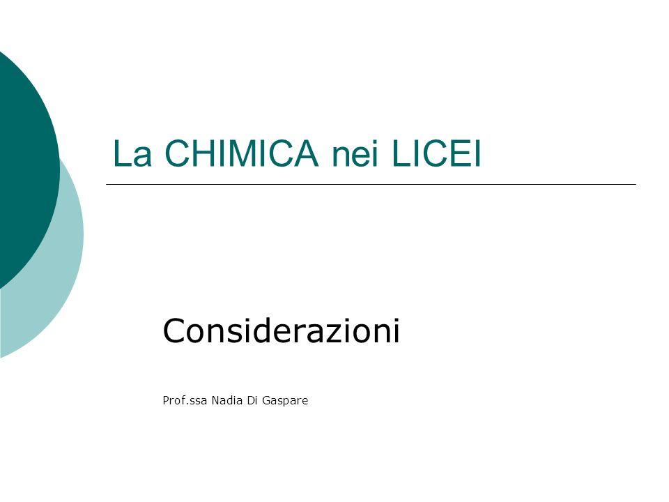 La CHIMICA nei LICEI Considerazioni Prof.ssa Nadia Di Gaspare