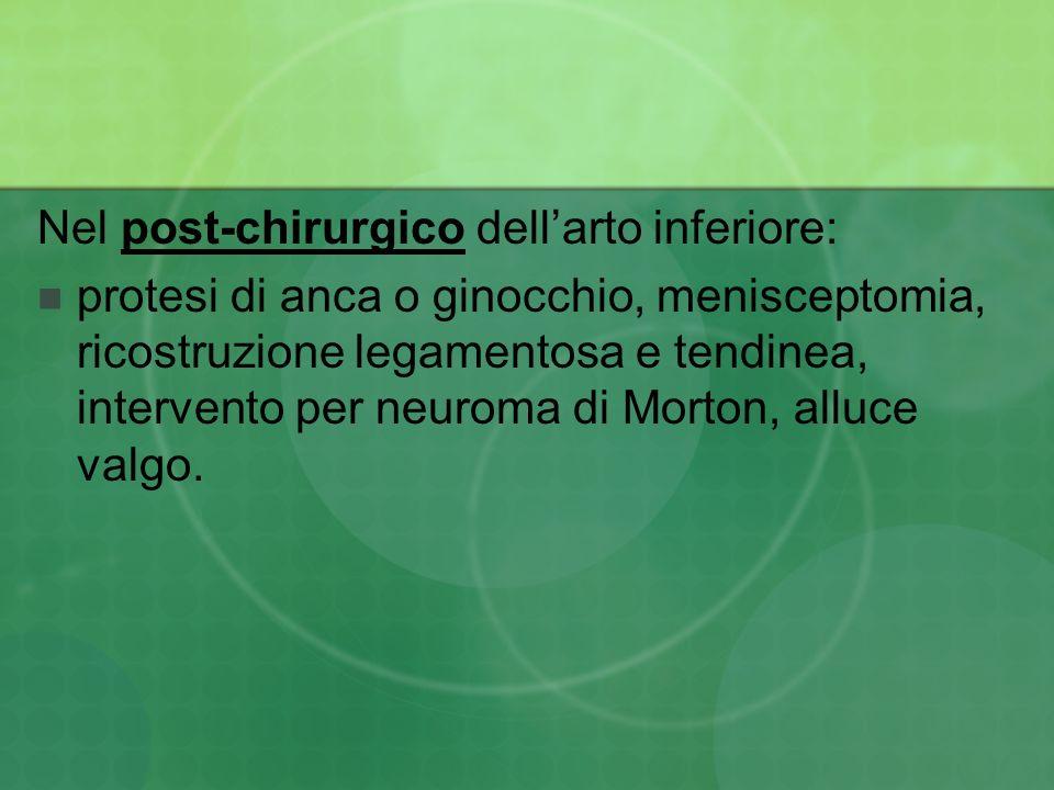 Nel post-chirurgico dellarto inferiore: protesi di anca o ginocchio, menisceptomia, ricostruzione legamentosa e tendinea, intervento per neuroma di Mo