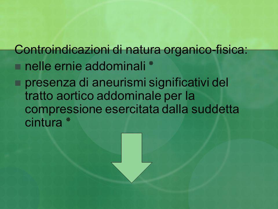 Controindicazioni di natura organico-fisica: nelle ernie addominali ٭ presenza di aneurismi significativi del tratto aortico addominale per la compres