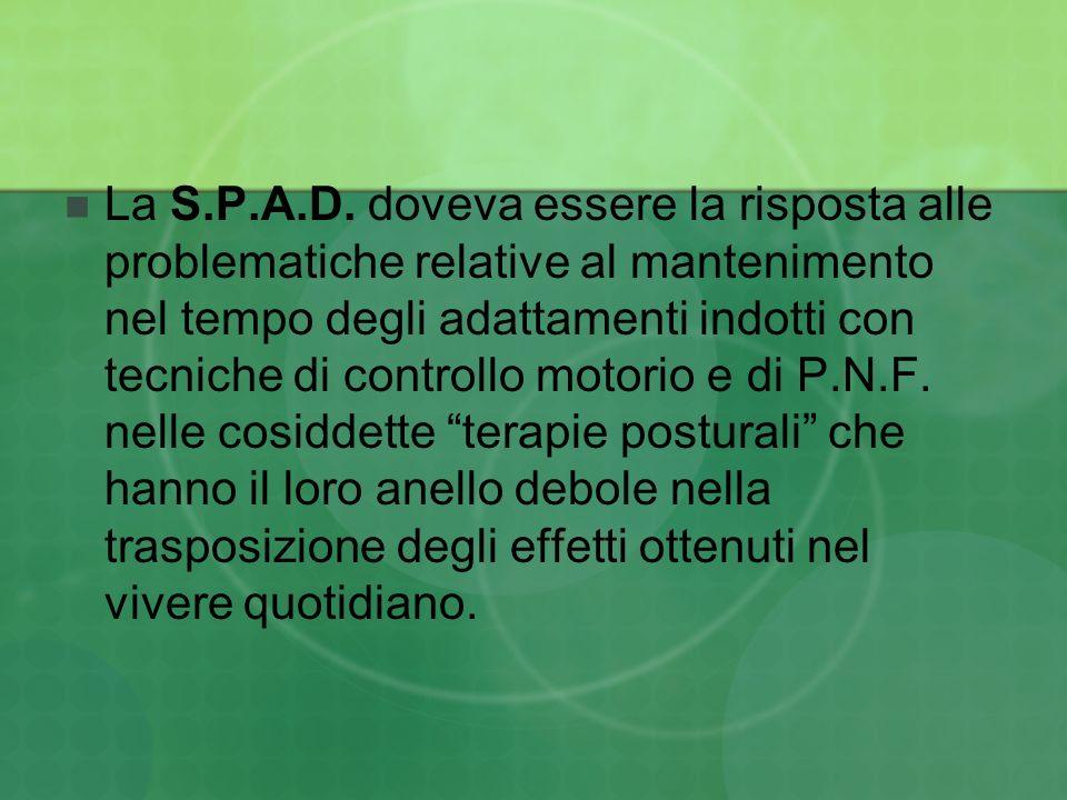 La S.P.A.D. doveva essere la risposta alle problematiche relative al mantenimento nel tempo degli adattamenti indotti con tecniche di controllo motori