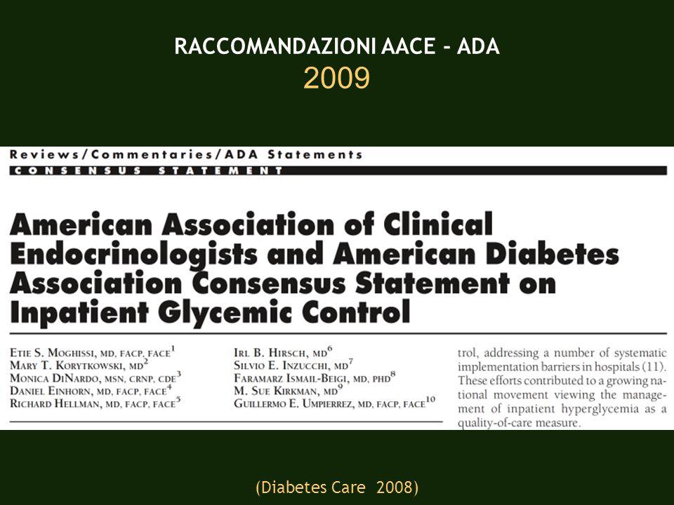 RACCOMANDAZIONI AACE - ADA 2009 (Diabetes Care 2008)