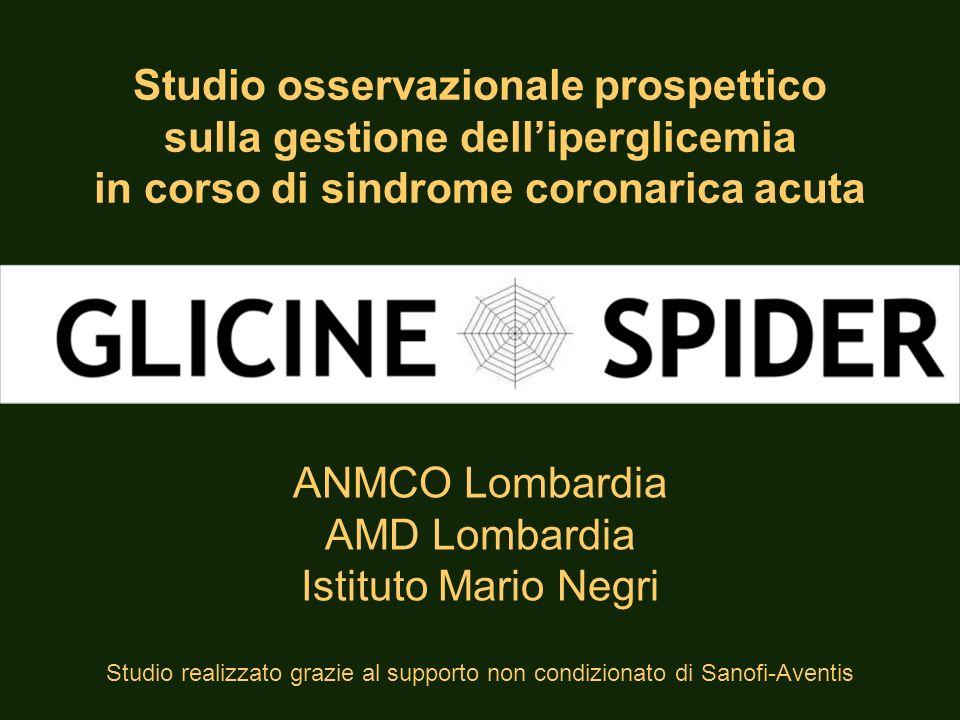 1282 pazienti con SCA ricoverati da maggio 2009 ad aprile 2010 in 31 UTIC della Lombardia GLICINE - SPIDER Popolazione in studio