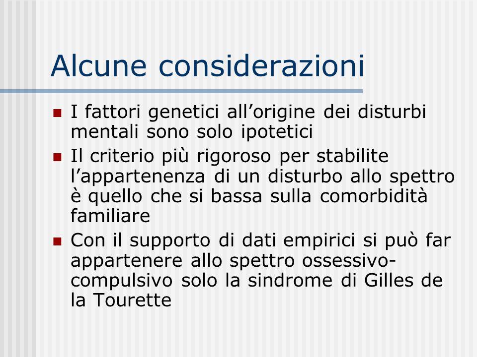 Lo spettro ossessivo- compulsivo Raggruppamento di disturbi che presentano una base genetica comune I fattori genetici si esprimono in maniera tipica