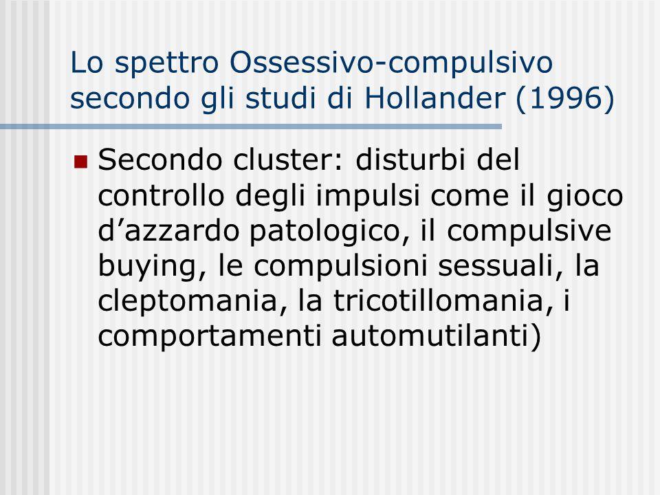 Lo spettro Ossessivo-compulsivo secondo gli studi di Hollander (1996) Tre cluster Primo cluster: i disturbi caratterizzati dalle preoccupazioni per la